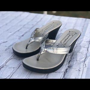 Metallic silver hush puppies heeled sandal